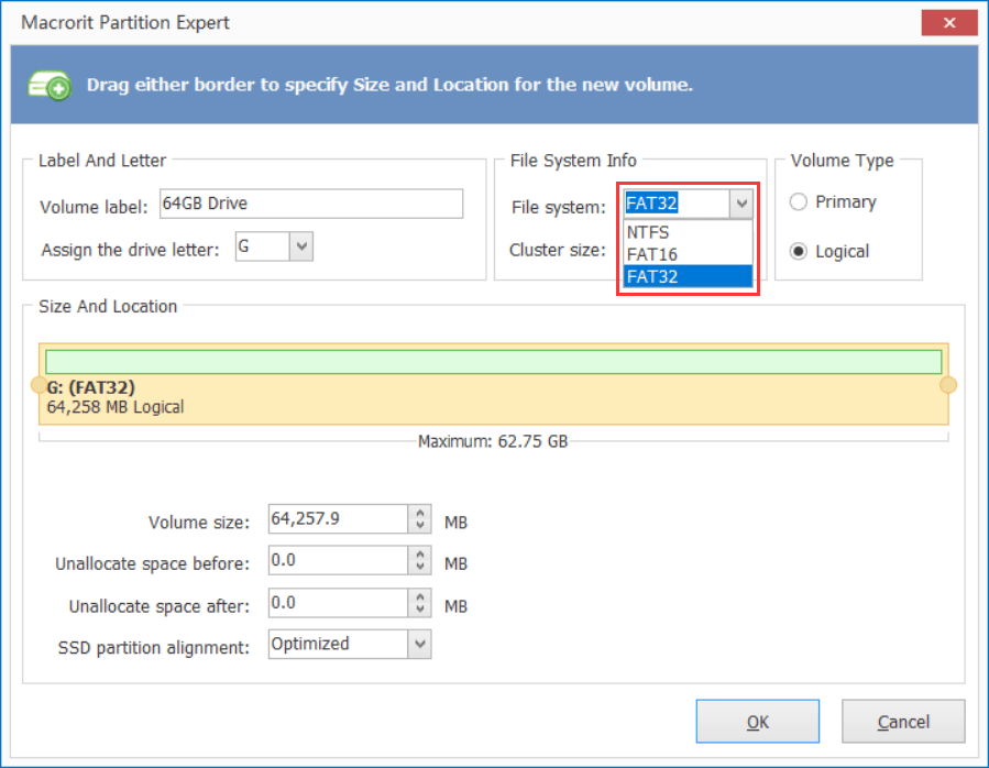 create a large FAT32 partition in Partition Expert