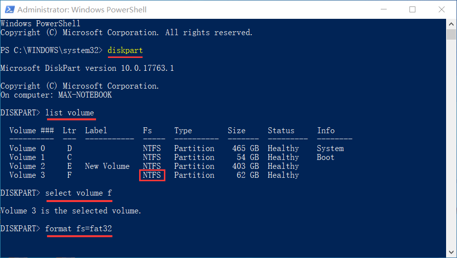 format 64GB FAT32 partition in PowerShell