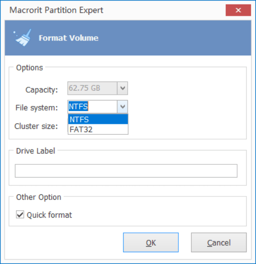 format to FAT32 in Partition Expert