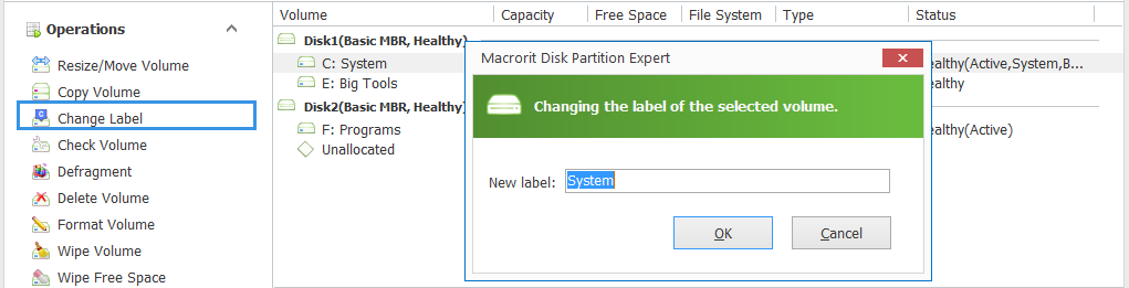 Change Drive Label in Command Prompt