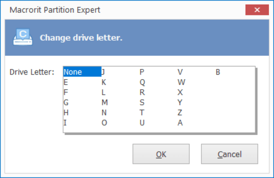 partition expert change drive letter to none