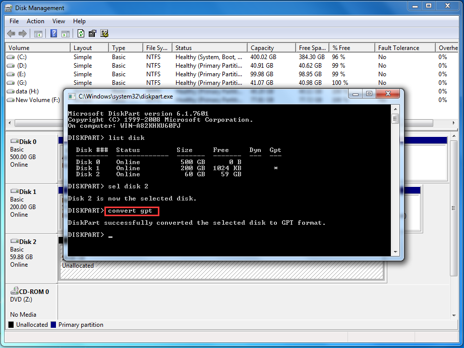 Diskpart Initialize Disk to GPT or MBR