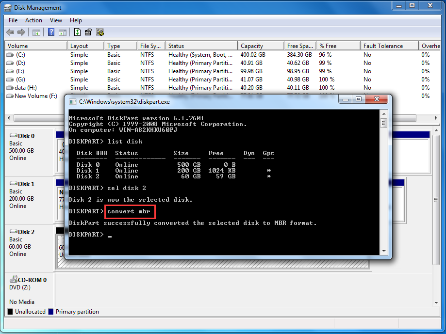Use Diskpart Command Prompt to Resize Windows 7 partition