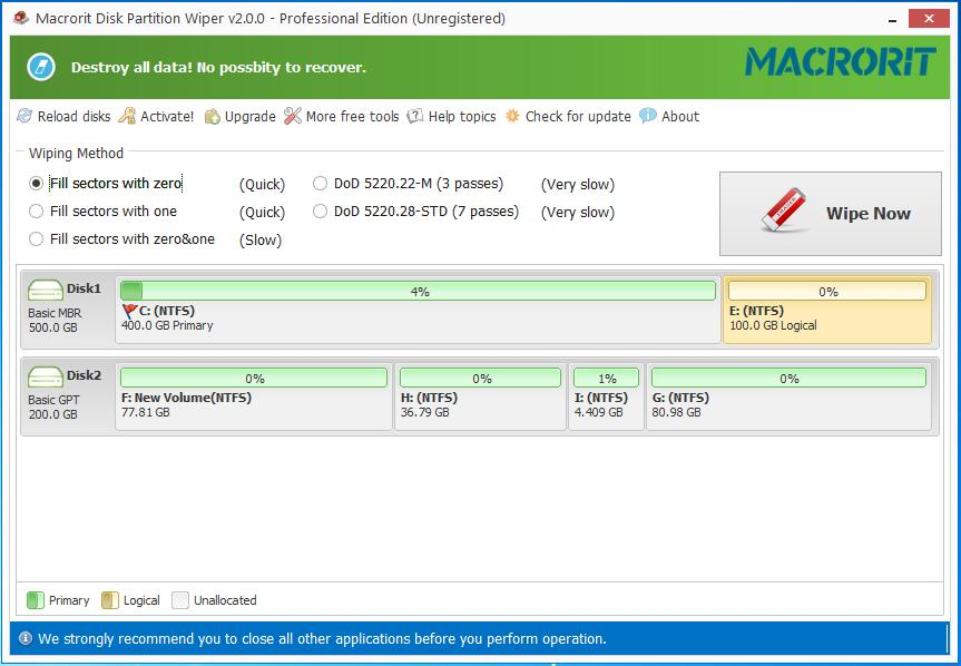 Click to view Macrorit Disk Partition Wiper screenshots