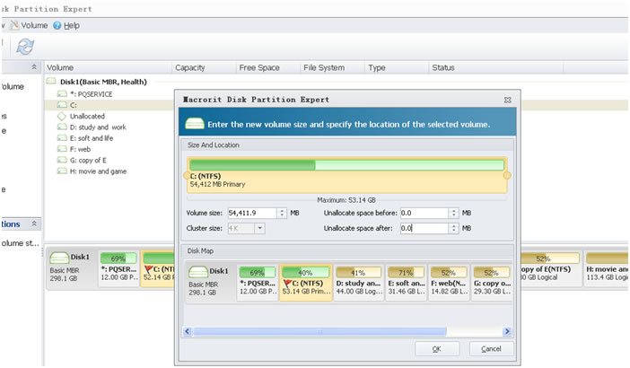 resize partition2