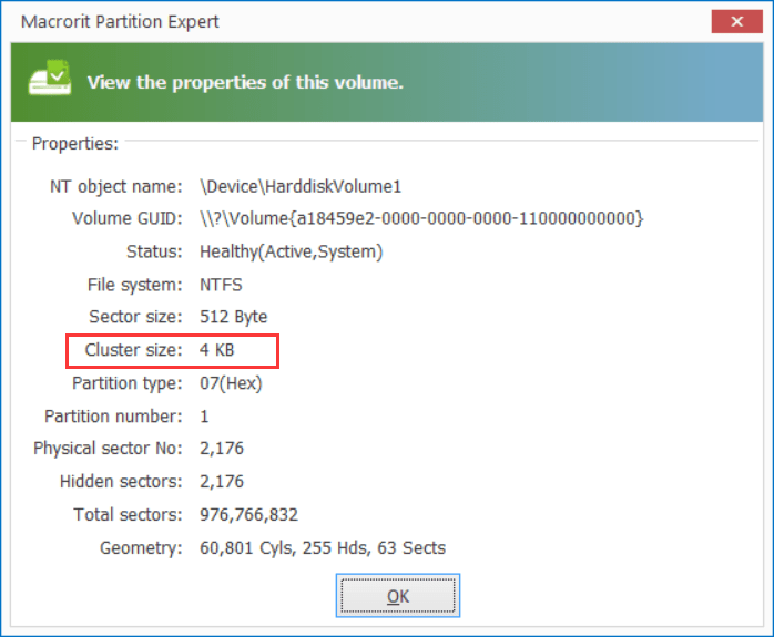 Check a partition is 512b cluster or 4k