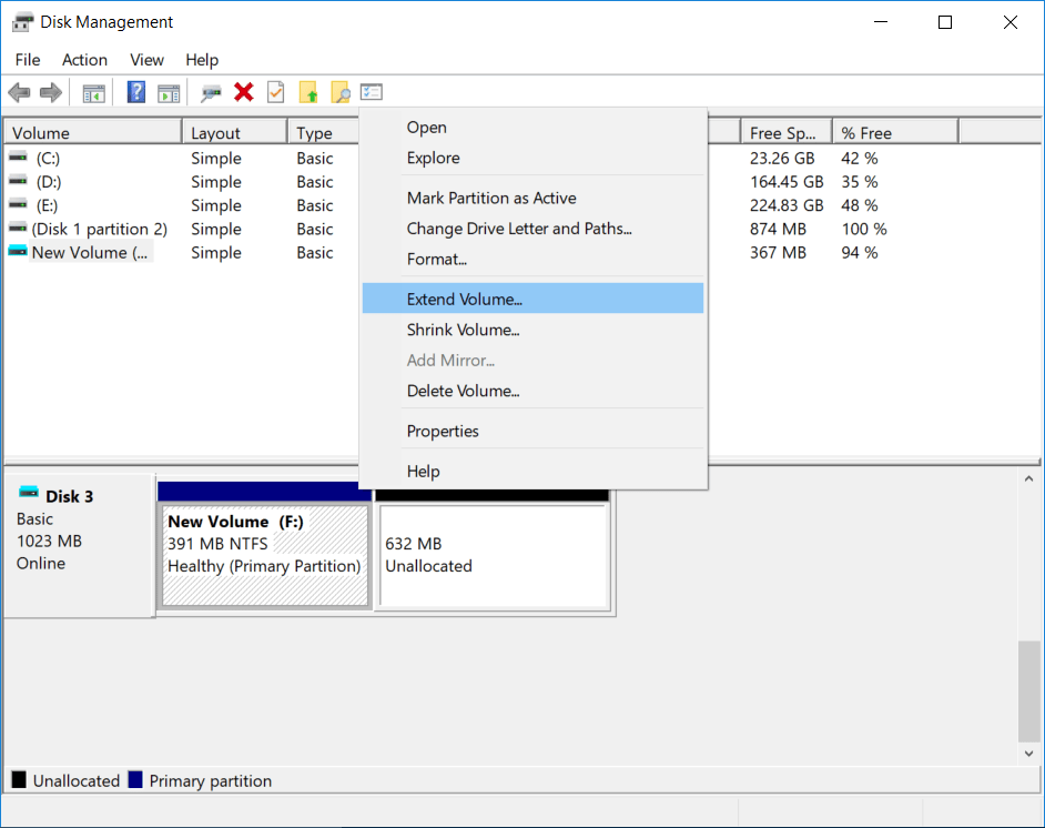 extend vhd partition