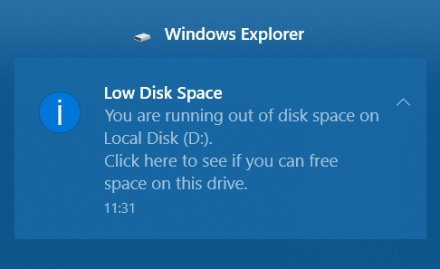Win10 low disk space warning