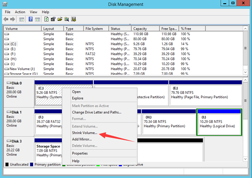 shrink server 2012 partition