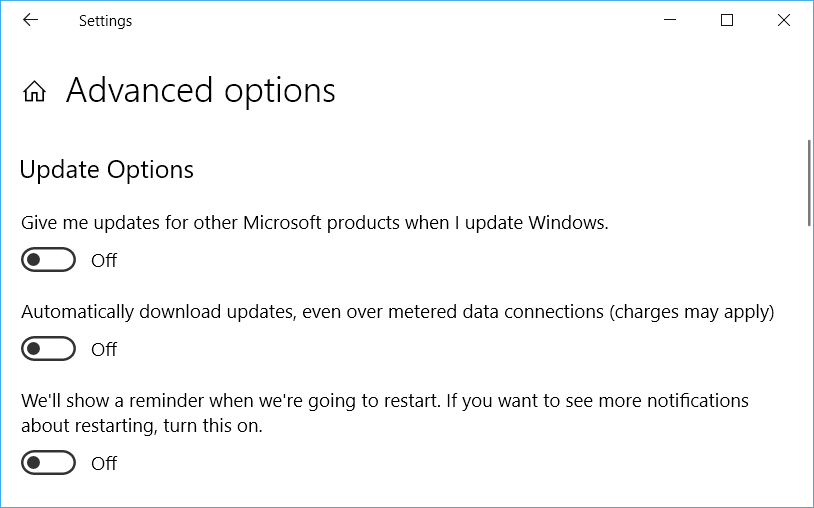 update option off