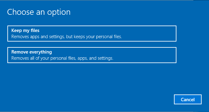 Choose an option to reset Windows