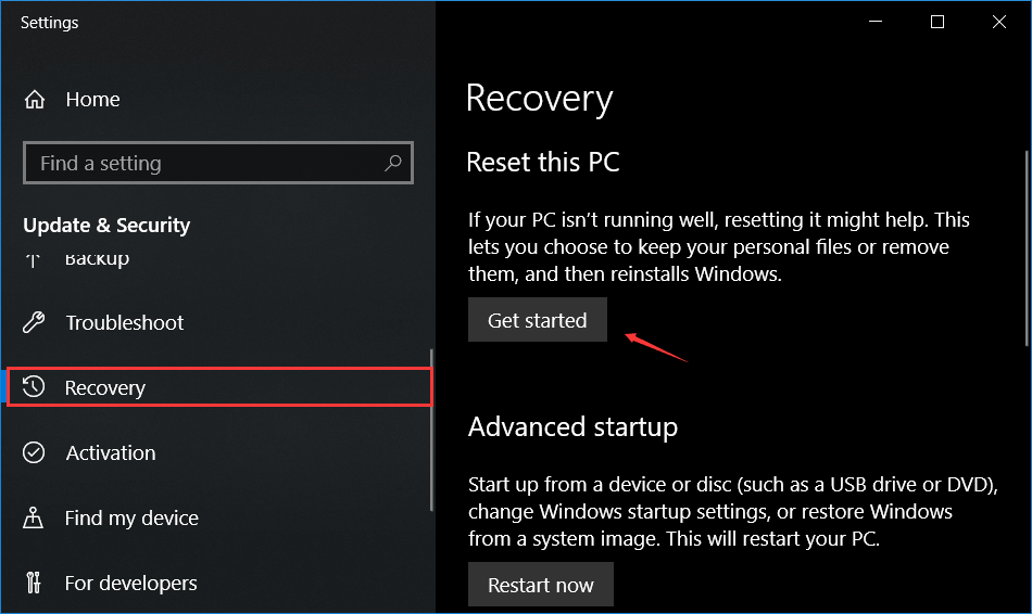 Windows 10 recovery option